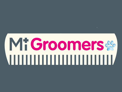 MiGroomers dog grooming service logo