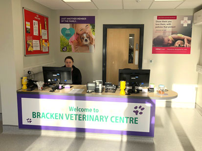 Reception at Bracken Veterinary Centre