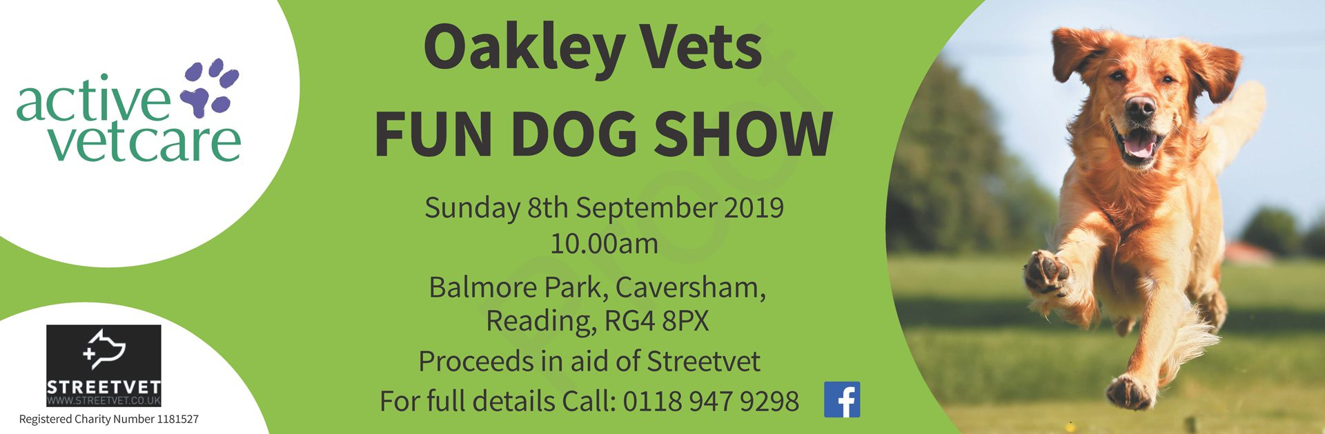 Banner with charity dog show details
